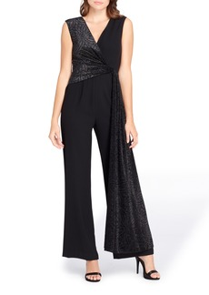 Tahari Metallic Faux Wrap Jumpsuit (Regular & Petite)