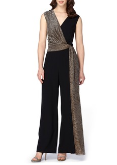 Tahari Metallic Faux Wrap Jumpsuit