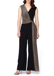 Tahari Metallic Faux Wrap Jumpsuit