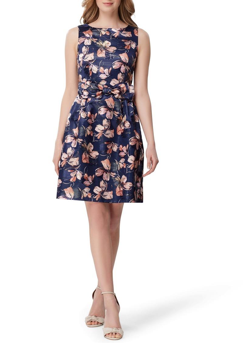 Tahari Metallic Floral Jacquard Fit & Flare Dress