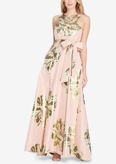 Tahari Metallic Floral-Print Gown