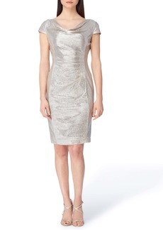 Tahari Metallic Foil Cocktail Dress