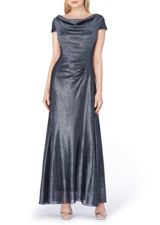 Tahari Metallic Foil Draped Gown