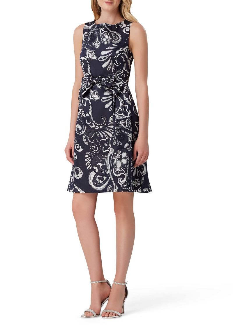 Tahari Metallic Jacquard Fit & Flare Dress