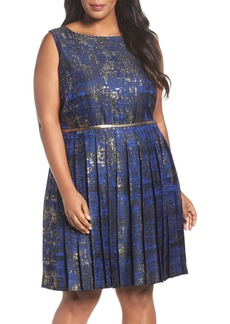 Tahari Metallic Jacquard Pleat Fit & Flare Dress (Plus Size)