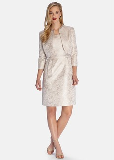 Tahari Metallic Jacquard Sheath Dress with Embellished Jacket (Petite)