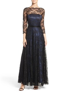 Tahari Metallic Lace Fit & Flare Gown