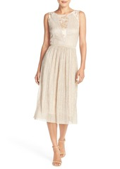 Tahari Metallic Pleated Midi Dress (Regular & Petite)