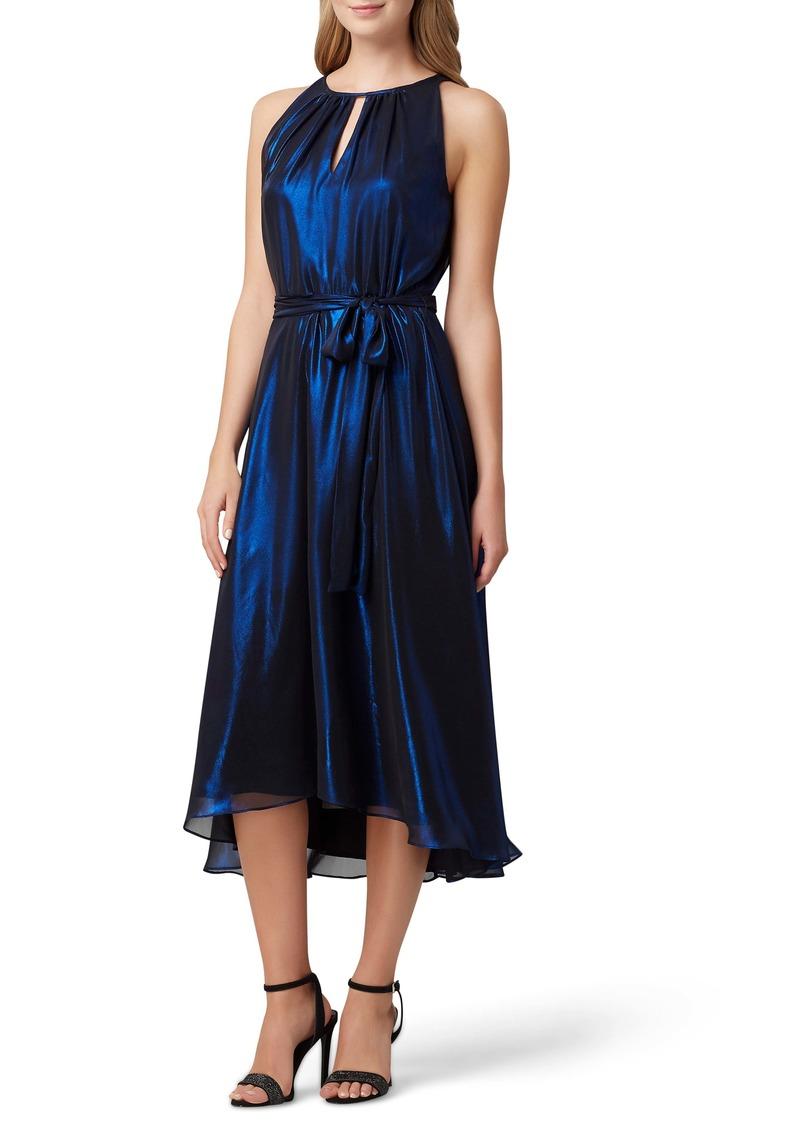 Tahari Metallic Shimmer Sleeveless High/Low Midi Dress