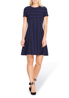 Tahari Metallic Stripe Fit & Flare Dress