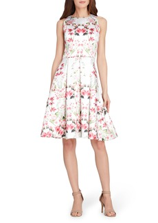 Tahari Micado Floral Print Fit & Flare Dress (Regular & Petite)