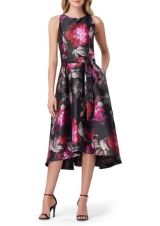 Tahari Mikado Floral Fit & Flare Midi Dress