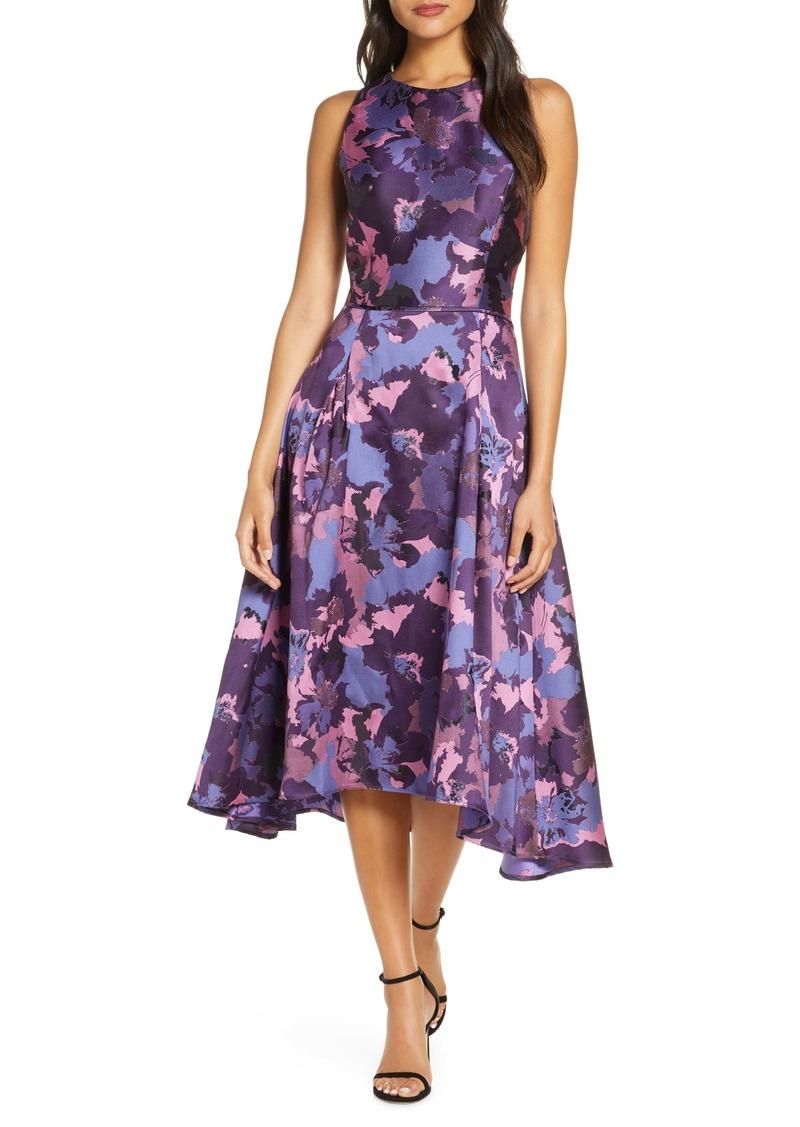 Tahari Mikado High/Low Cocktail Dress