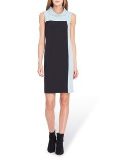 Tahari Mock Neck Colorblock Shift Dress