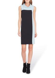 Tahari Mock Neck Colorblock Shift Dress