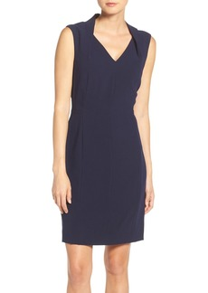 Tahari Notch Neck Crepe Sheath Dress