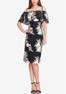 Tahari Asl Off-The-Shoulder Lace Flounce Dress