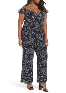 Tahari Off the Shoulder Paisley Chiffon Jumpsuit (Plus Size)