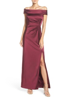 Tahari Off the Shoulder Satin Gown