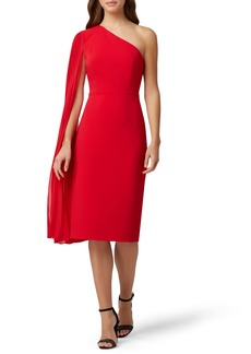 Tahari One-Shoulder Sash Crepe Dress