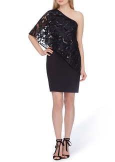 Tahari One-Shoulder Sequin Dress