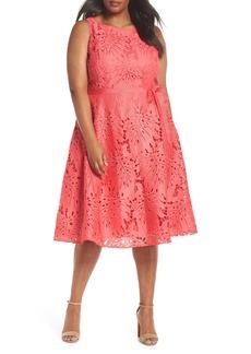 Tahari Palm Leaf Chemical Lace A-Line Dress (Plus Size)