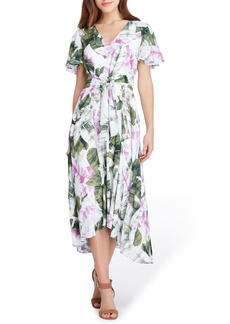 Tahari Palm Print High/Low Midi Dress