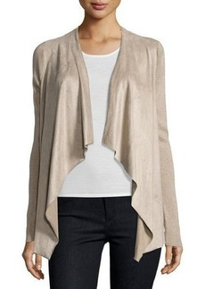 Tahari Perforated-Knit Open-Front Sweater