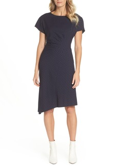 Tahari Pinstripe Side Ruched Crepe Sheath Dress