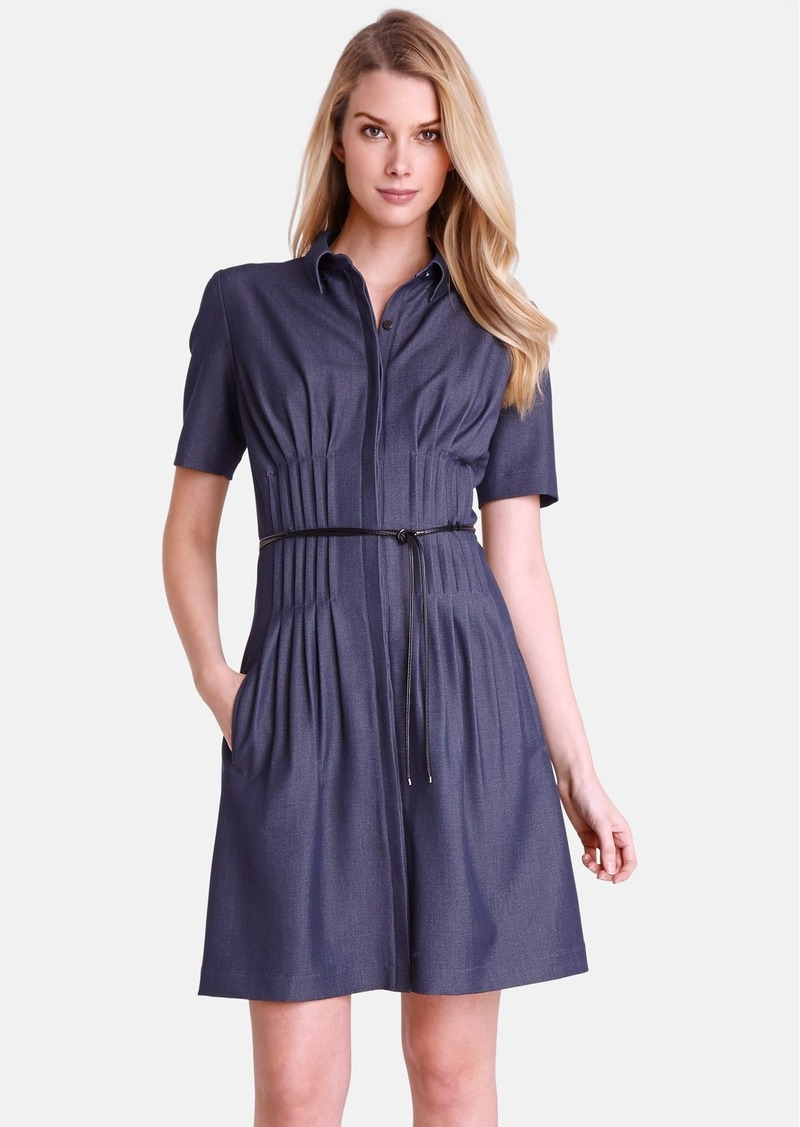 Tahari Pintuck Chambray Fit & Flare Shirtdress