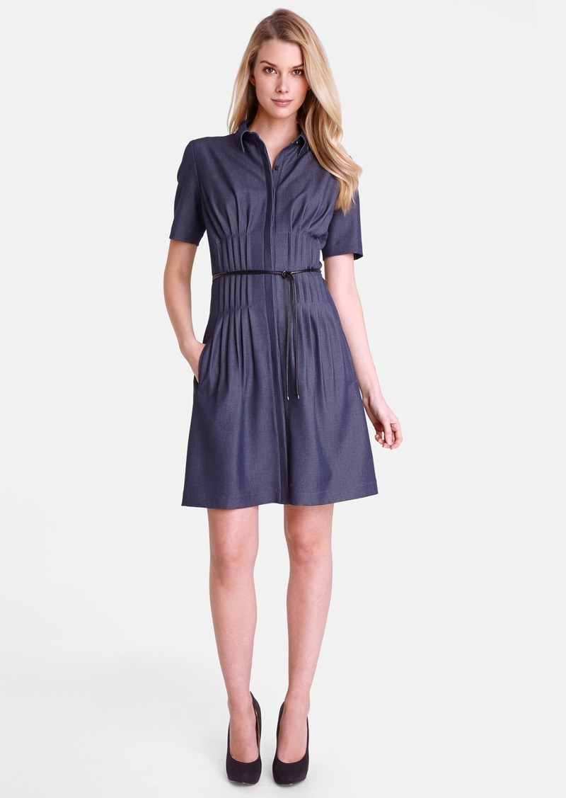 Tahari Pintuck Chambray Fit & Flare Shirtdress (Petite)