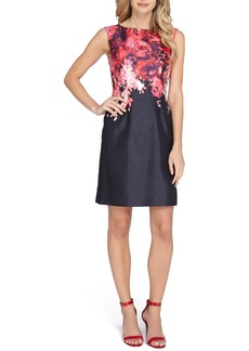 Tahari Placed Print Shantung Sheath Dress (Regular & Petite)