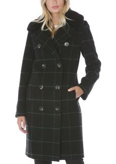 Tahari Plaid Faux-Fur-Collar Double-Breasted Coat