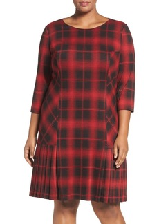 Tahari Plaid Knit Drop Waist Shift Dress (Plus Size)