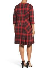Tahari Plaid Knit Drop Waist Shift Dress (Plus Size)
