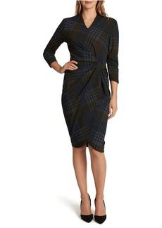 Tahari Plaid V-Neck Sheath Dress