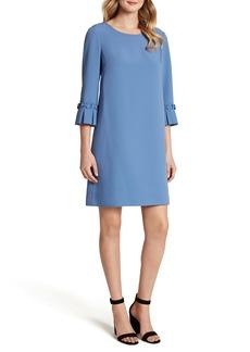 Tahari Pleat Cuff Stretch Crepe Shift Dress