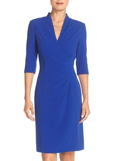 Tahari Pleated Crepe Sheath Dress