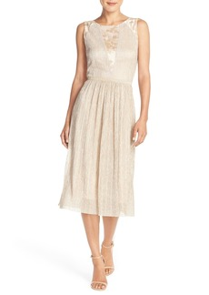 Tahari Pleated Metallic Jacquard Illusion Midi Dress