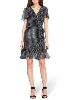 Tahari Polka Dot Faux Wrap Ruffle Dress (Regular & Petite)