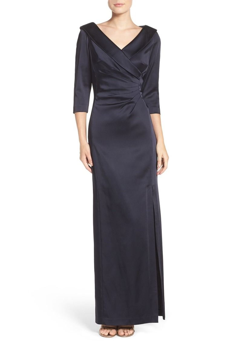 Tahari Portrait Collar Satin Gown