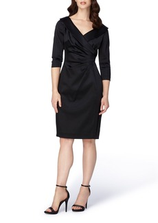 Tahari Portrait Collar Satin Sheath Dress