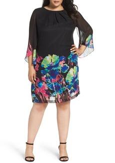 Tahari Print Chiffon Shift Dress (Plus Size)