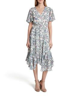 Tahari Print Chiffon Smocked Flutter Sleeve Midi Dress