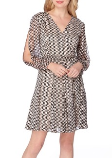 Tahari Print Faux Wrap Dress