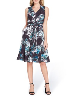 Tahari Print Faux Wrap Dress (Regular & Petite)