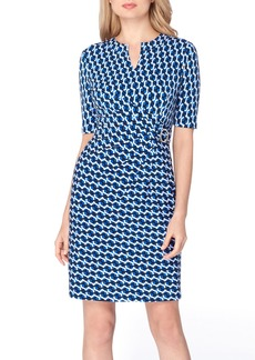 Tahari Print Faux Wrap Sheath Dress