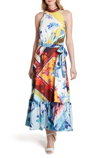 Tahari Print Halter Tie Waist Maxi Dress