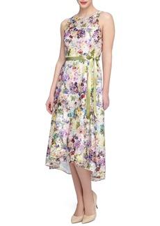 Tahari Print Lace Midi Dress