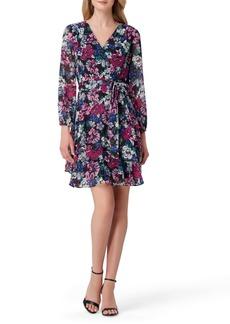 Tahari Print Long Sleeve Faux Wrap Dress
